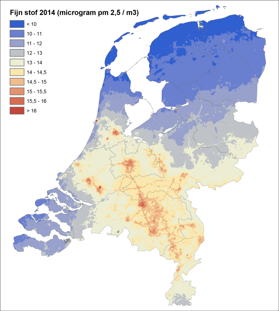 Fijnstof kaart Nederland