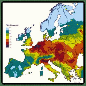 Fijnstof kaart Europa
